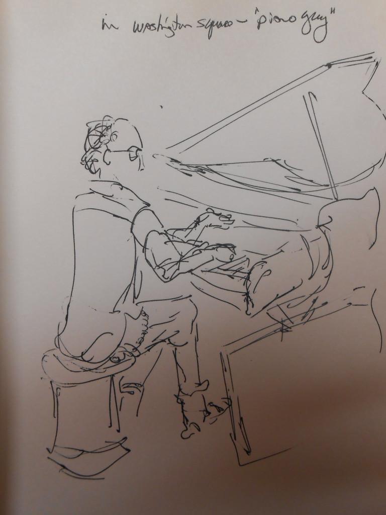 Piano Man in Washington Square, quick sketch